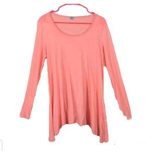 Splendid Pink Coral bright semi sheer Tunic Top Sz
